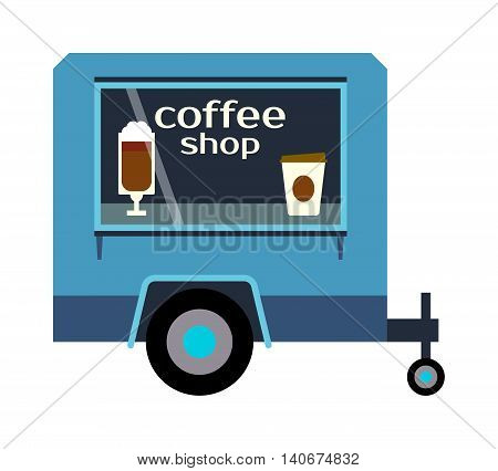 Street food coffee festival color trailer labels , van restaurant. Cafe urban food truck trailer, mobile market, event and transport. Vector illustration food truck trailer, fast delivery service.