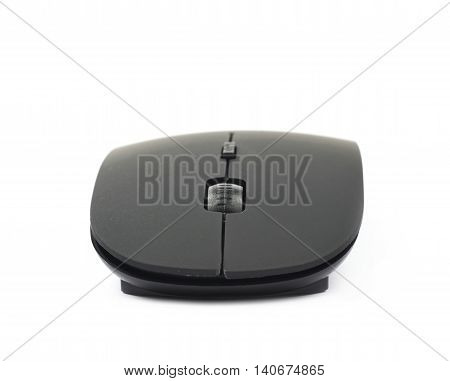 Black plastic wireless computer mouse controller isolated over the white background