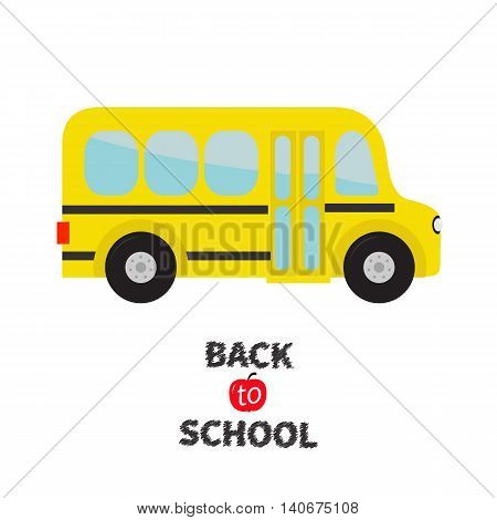Yellow school bus kids. Cartoon clipart. Transportation. Baby collection. Side view. Back to school. Greeting card. Flat design. Isolated. White background. Vector illustration