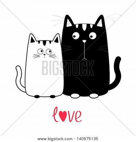 Cute cartoon black cat boy and white girl. Kitty couple on date. Big mustache whisker. Funny character set. Happy family. Love greeting card. Text with heart. Flat design. Isolated Vector illustration