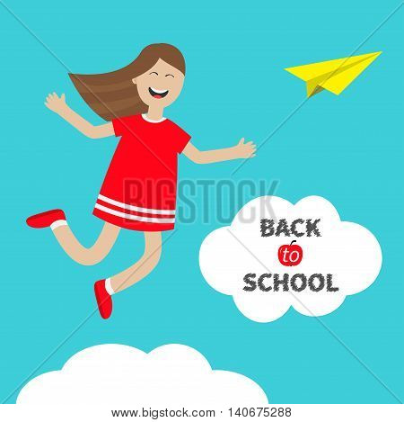Girl jumping Happy child jump. Cute cartoon laughing character in red dress. Back to school Chalk text in cloud. Origami paper plane. White background. Isolated. Flat design. Vector illustration