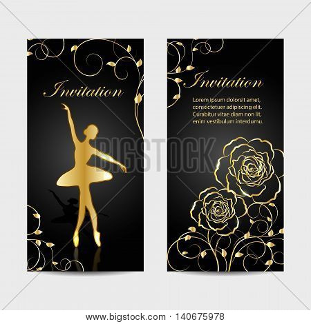 Set of invitation cards design. Gold ballerina and plant pattern on dark background. Vector illustration.