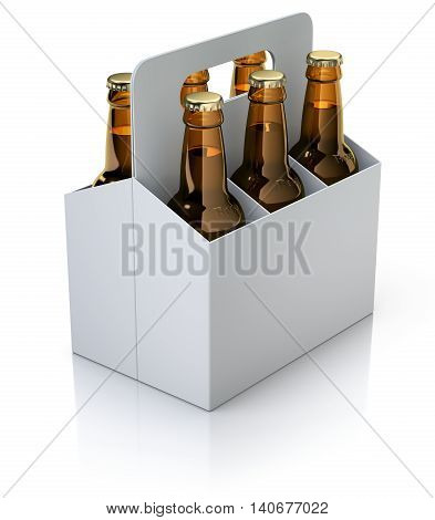 Six red bottles of beer in white carton packaging on white reflective background - 3D illustration