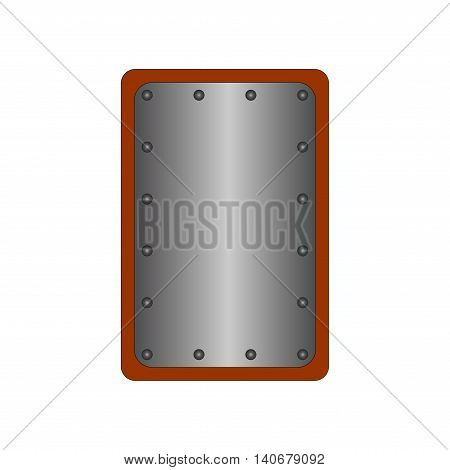 Sign shield silver. Rectangle protection icon isolated on white background. Mark with volume effect. Symbol of a steel guard. Color element. Logo for military and security. Stock vector illustration