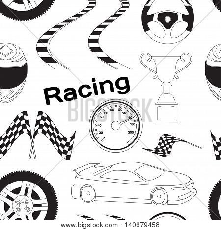 Car Racing pattern. Stopwatch and speedometer, tire and pedestal, helmet and cup, winning finish, flag and speed competition. Vector illustration, EPS 10