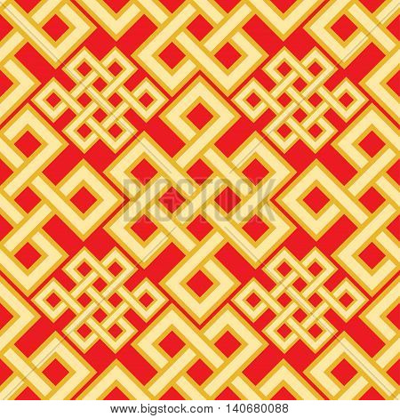 The Endless Knot Seamless Pattern. Graphic Ornament Composed Of Right-angled, Intertwined Lines. Vec