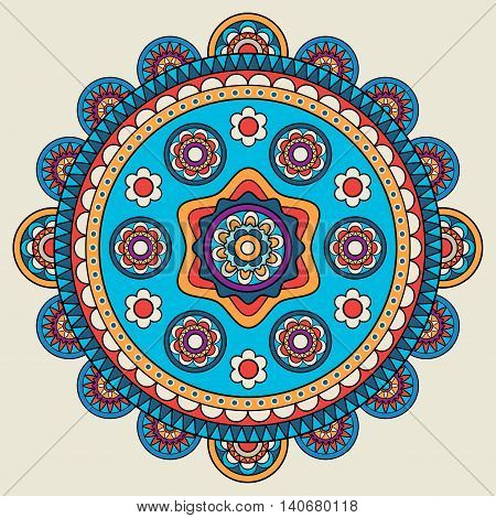 Indian doodle mehendi colored mandala. Vector illustration