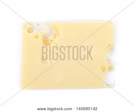 Single slice of cheese isolated over the white background