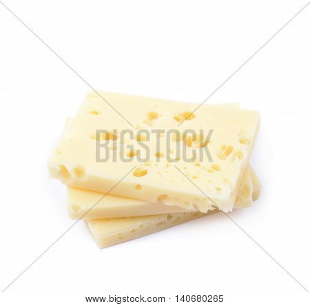 Pile of cheese slices isolated over the white background