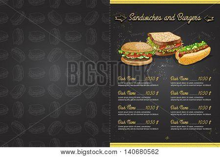 Drawing color horisontal menu design on blackboard, pages 2, 3. Vector illustration, EPS 10