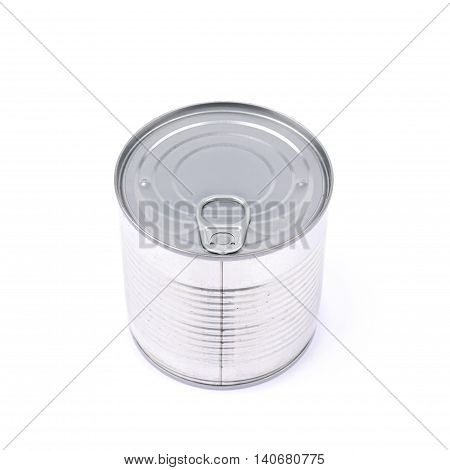 Metal tin food can isolated over the white background