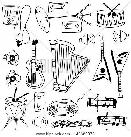 Doodle of stock music object vector illustration