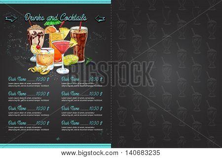 Drawing color horisontal menu design on blackboard, pages 6, 7. Vector illustration, EPS 10