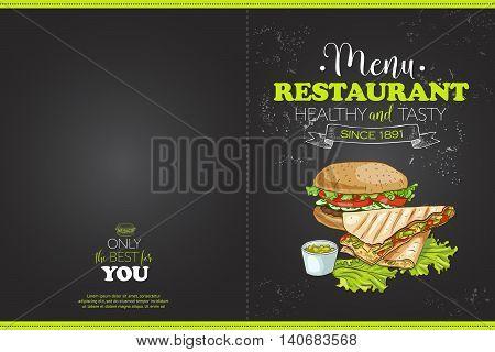 Cover color horisontal menu design on a a blackboard. Vector illustration, EPS 10