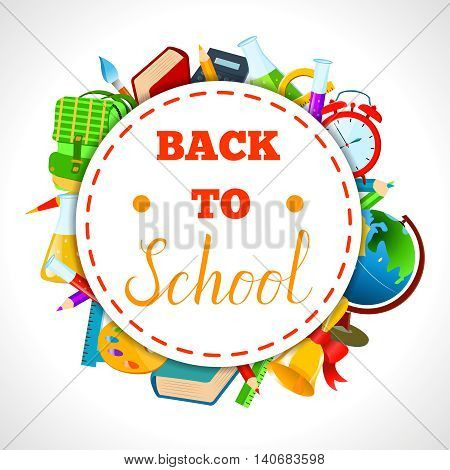 Back To School round composition banner.Vector Flat Illustration. Back to School lettering phrase on oldschool badge with colorful school items and supplies around it.Education and web design Concept.
