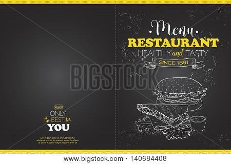 Cover Scetch horisontal menu design on a a blackboard. Vector illustration, EPS 10