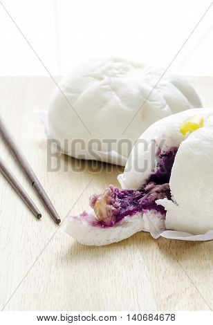 steamed dumpling chinese dim sum on wooden background.