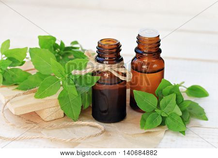 Basil herb essential oil. Extract in bottles, fresh green plant leaves. Natural calming and refreshing remedy.