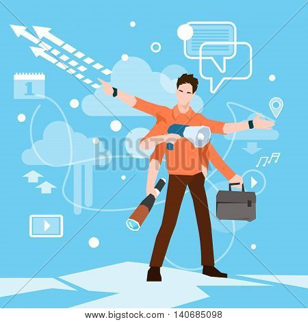 Busy Multitasking Manager Business Man With Many Hands Flat Vector Illustration