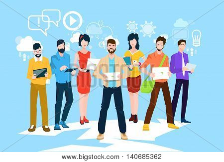 Business People Group Using Electronic Computer Digital Device Programmers Teamwork Flat Vector Illustration