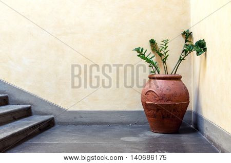 Interior detail with vintage pitcher and flowers in old house in Italy