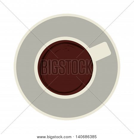 flat design coffee cup topview icon vector illustration