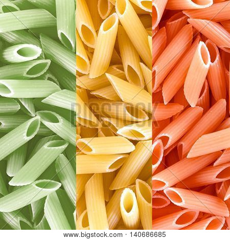 Penne pasta and Italian flag background macro. Three color pasta.