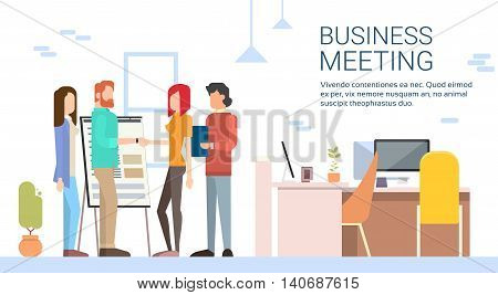 Casual Business Man Woman Shake Hand Modern Coworking Office Flat Vector Illustration