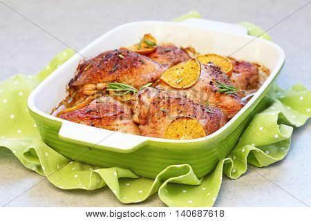 Oven roasted baked orange clementine chicken legs