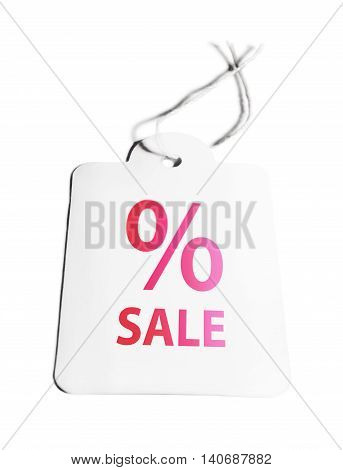 Label or price tag with percentage sign, isolated on white.