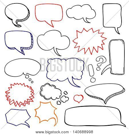 Hand drawn speech bubbles cloud doodle vector set. Bubble for speech and message collection
