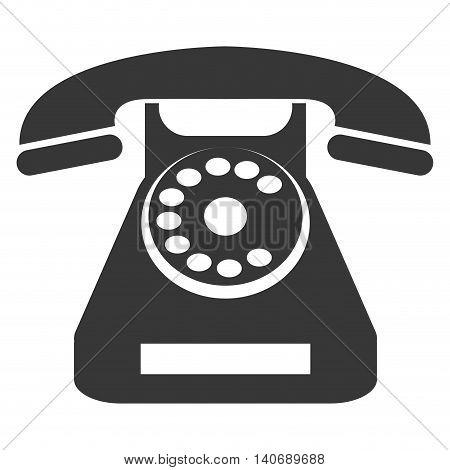 flat design rotary telephone icon vector illustration
