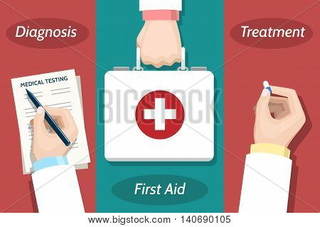 Doctor hand with pen and medical report, first aid kit and medicine vector illustration