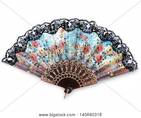 Spanish fan, isolated on White background. Decorative hand fan.