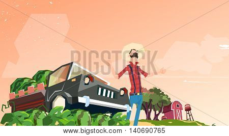 Farmer Picking In Field Watermelon Harvest Flat Vector Illustration