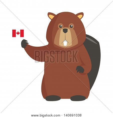 flat design single beaver with canadian flag icon vector illustration