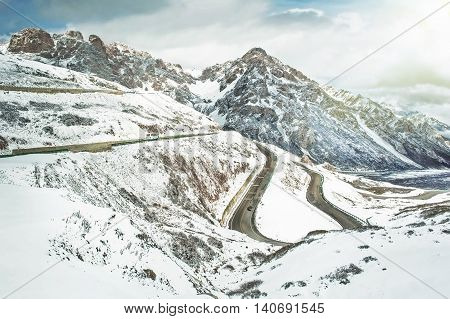 Road Through Snowy Mountains view in China at