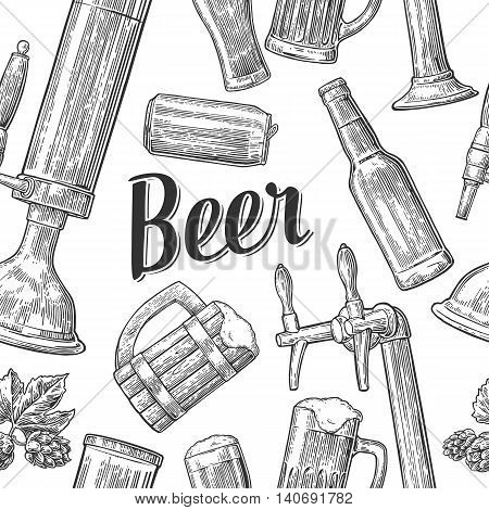 Seamless pattern beer tap class can bottle and hop. Vintage vector engraving illustration for web poster invitation to beer party. Hand drawn balck design element isolated on white background.