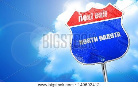 north dakota, 3D rendering, blue street sign