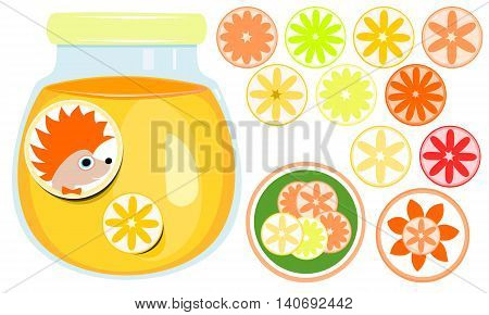 Closed glass with orange marmalade, marking labels hedgehog and orange. A set of round stickers with different kinds of citrus.