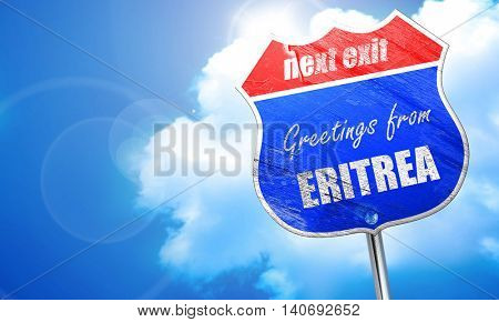 Greetings from eritrea, 3D rendering, blue street sign