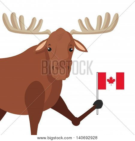 flat design single moose icon vector illustration