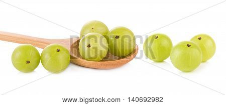 Closeup Indian gooseberries on white background. food