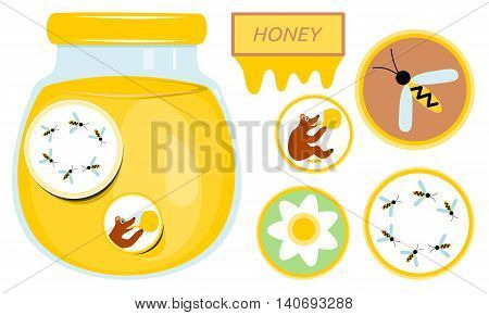 Glass with honey. Collection of stickers with bear, bee and flower.