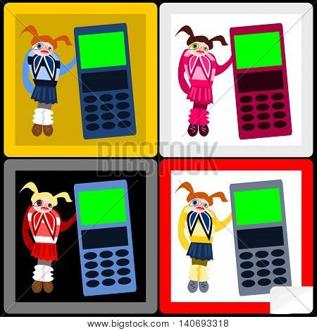 Red hair (blonde, brunette) girl in short pleated skirt with big cellular phone - stickers