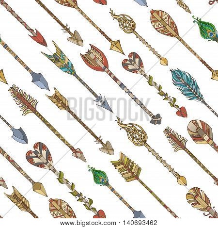 Vector Seamless Pattern Of Ethnic Arrows.