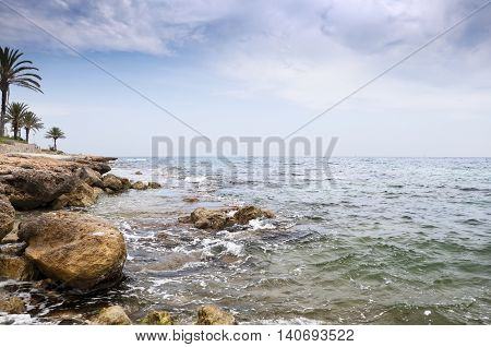 Mediterranean coastline at Santa Pola town Alicante Spain. It is a coastal town located in the comarca of Baix Vinalopo in the Valencian Community Alicante Spain by the Mediterranean Sea.