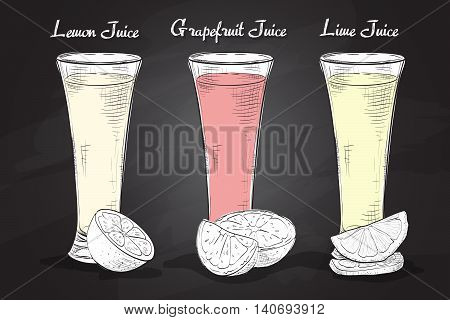 Set realistic scetch glasses of juices on a blackboard. Colorful realistic illustration. Drinks with fruit halves.