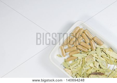 Herb with capsule and leaf herb on white dish