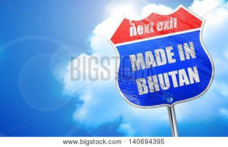Made in bhutan, 3D rendering, blue street sign